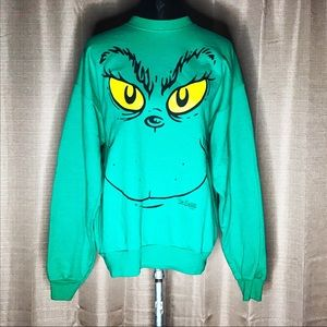 DR. SEUS GRINCH FACE CHRISTMAS SWEATSHIRT TOP #287